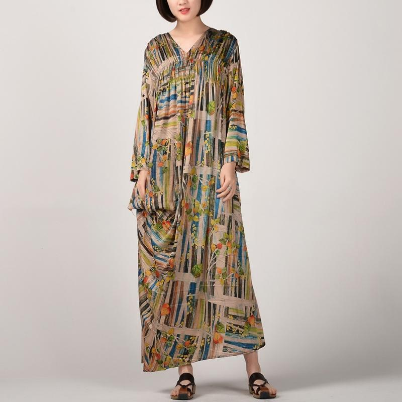 fashion prints long silk dress plussize v neck caftans Fine long sleeve caftans