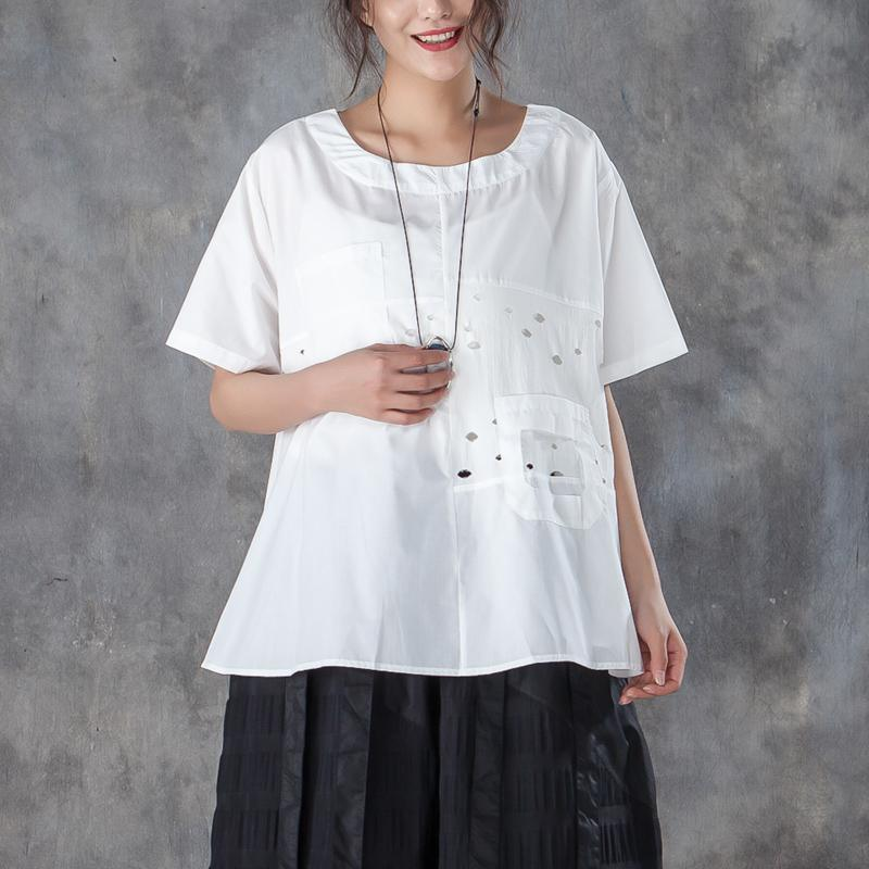 fashion summer cotton tops plus size Loose Round Neck Short Sleeve Pure White T-shirt
