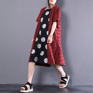 fashion summer dresses casual Loose Splicing Polka Dots Short Sleeve Stripe Dress
