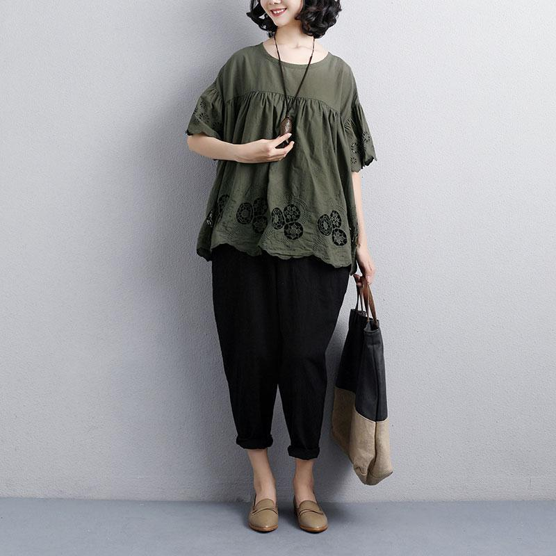 fashion summer t shirt plus size clothing Loose Round Neck Short Sleeve Cotton Army Green Tops
