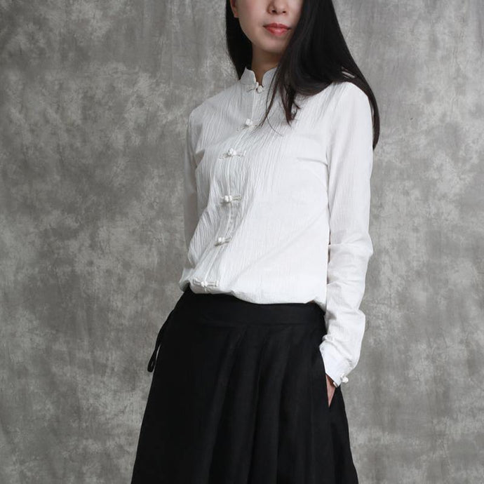fashion white linen pullover oversized traveling blouse top quality Chinese Button stand collar linen t shirt