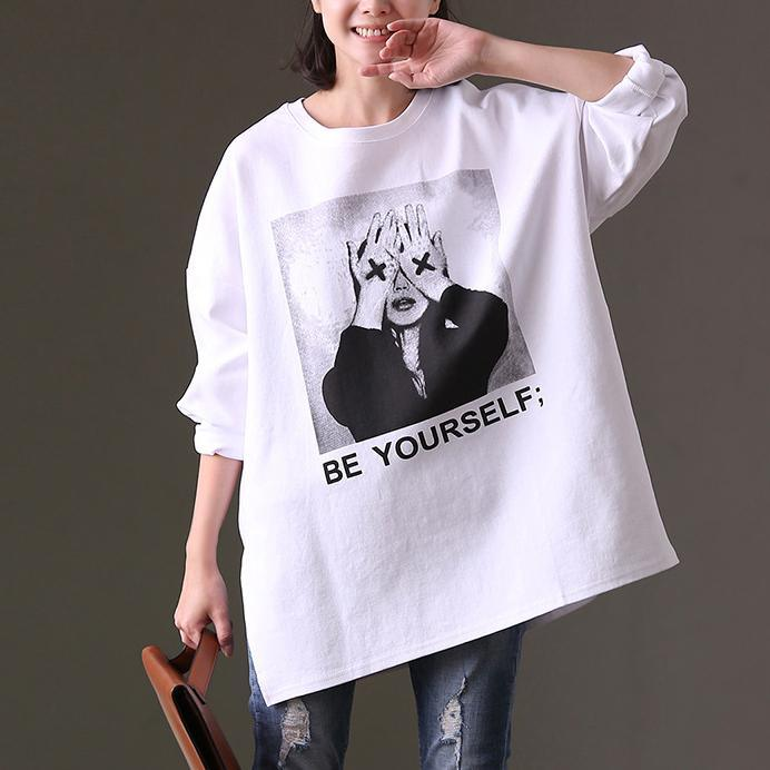 fashion white natural cotton t shirt trendy plus size cotton clothing blouses boutique wide prints cotton blouses