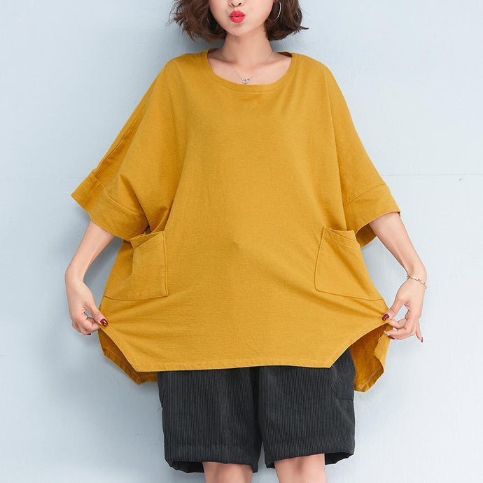fashion yellow pure linen tops oversized casual cardigans Elegant side open big pockets midi tops