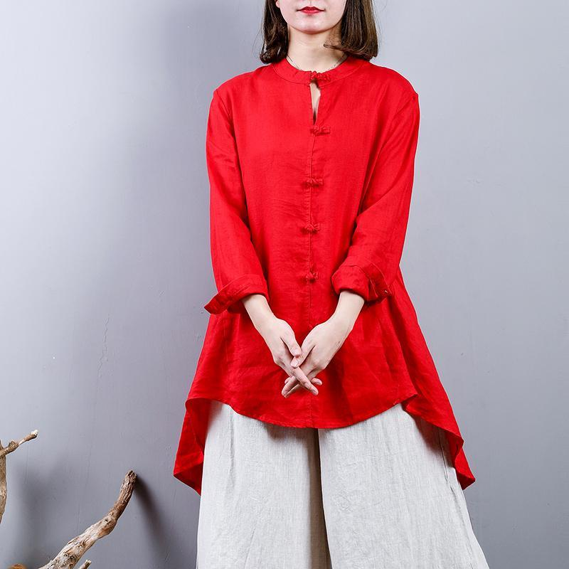 fasion red  Midi linen pullover oversize  holiday tops  2018 Chinese Button low high design linen blouses