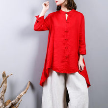 Load image into Gallery viewer, fasion red  Midi linen pullover oversize  holiday tops  2018 Chinese Button low high design linen blouses