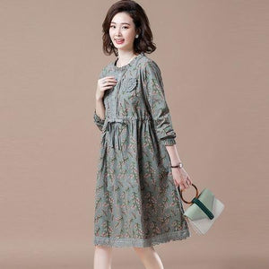 Plus Size Women Casual Dress New 2020 Autumn Vintage Floral Print 100%  Elegant Dresses