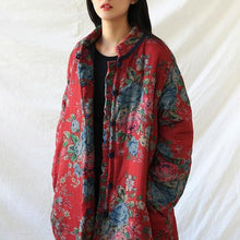 Load image into Gallery viewer, Women Red Print Floral Vintage Parkas Linen Pockets 2020 Winter New Chinese Style Parkas