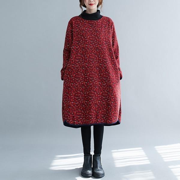 long sleeve plus size cotton vintage floral women casual loose midi autumn winter dress
