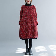 Load image into Gallery viewer, long sleeve plus size cotton vintage floral women casual loose midi autumn winter dress