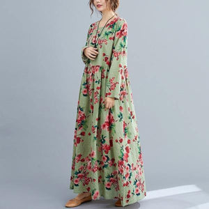 Autumn Vintage Style O-neck Floral Print Ladies Cotton Linen Long Dresses
