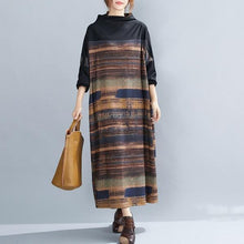 Load image into Gallery viewer, long sleeve plus size cotton wool vintage floral women casual loose autumn winter dress