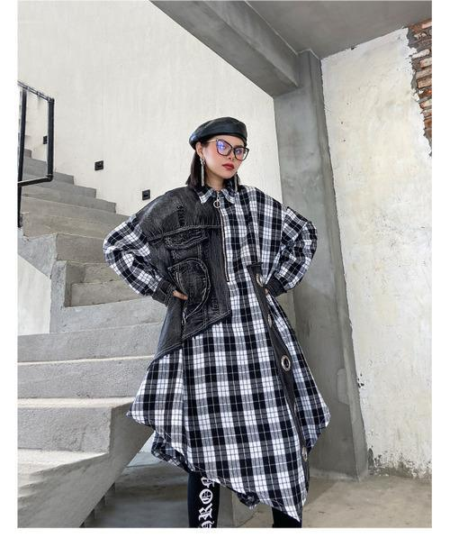 Women Autumn Patchwork Plaid Denim Blouse Tops Shirt Female Vintage Spliced Plaid Shirt Ladies Retro Blouses 2020