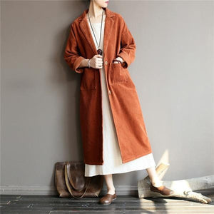 2020 Autumn Winter New Solid Color Long Sleeve Button Pockets Casual Loose Women Trench