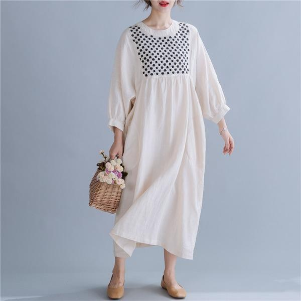 long sleeve cotton linen vintage embroidery plus size women casual loose spring autumn dress