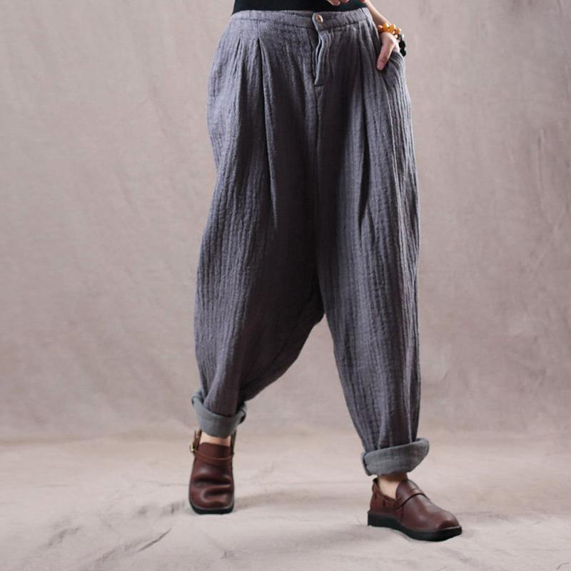 fine gray loose cotton linen vintage pants casual trousers