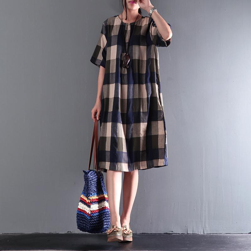 fine blue gray plaid summer dresses loose linen sundresses short sleeve mid-dress
