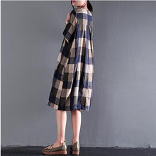 Load image into Gallery viewer, fine blue gray plaid summer dresses loose linen sundresses short sleeve mid-dress