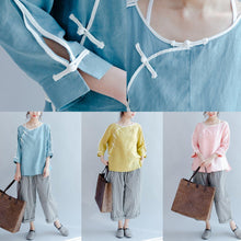 Load image into Gallery viewer, fine linen casual shirts light blue vintage blouse mandarin o neck tops
