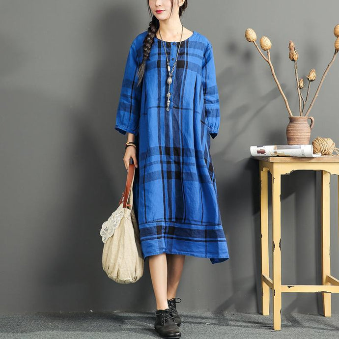 fine linen dress summer casual oversize sundress plaid vintage maternity dress