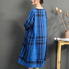 Load image into Gallery viewer, fine linen dress summer casual oversize sundress plaid vintage maternity dress