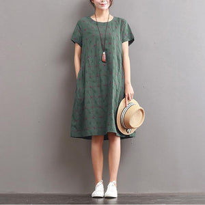 fine linen summer casaul dresses plus size plaid sundress short sleeve shift dress