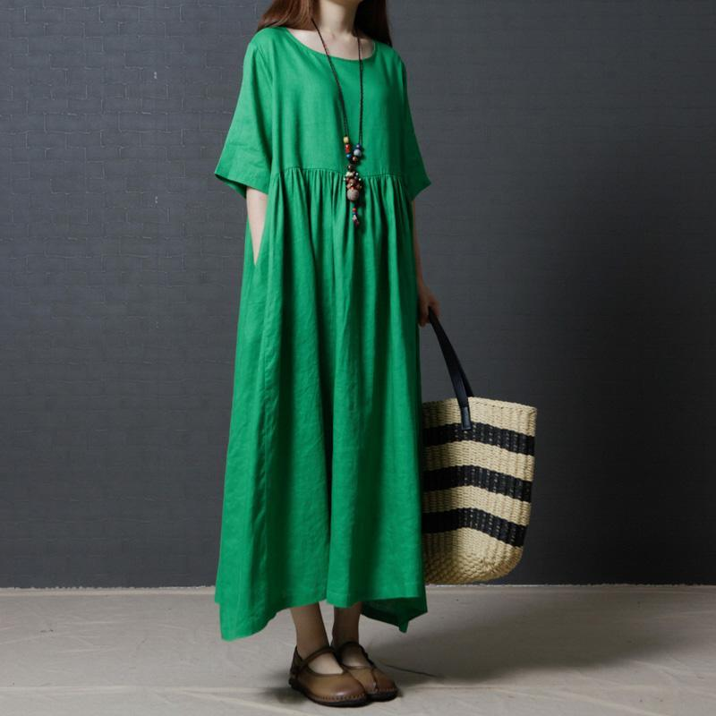 fine linen green women summer dresses oversize vintage sundress o neck maxi dress