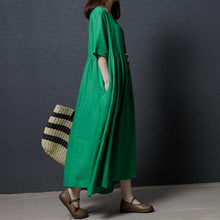 Load image into Gallery viewer, fine linen green women summer dresses oversize vintage sundress o neck maxi dress