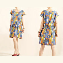 Load image into Gallery viewer, floral cotton sundress linen summer shift dresses
