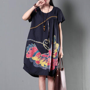 flying butterfly print navy linen sundress plus size shift dresses summer new design