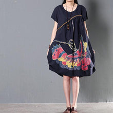 Load image into Gallery viewer, flying butterfly print navy linen sundress plus size shift dresses summer new design