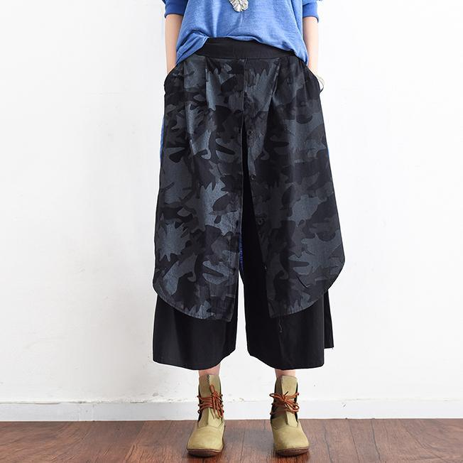 gray black plus size casual cotton pants prints vintage wide leg pants