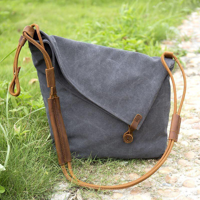 gray casual canvas women leather bags