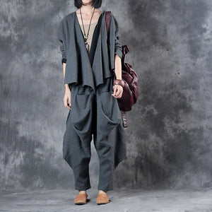 gray fashion two pieces winter woolen blended loose chunky coats with asymmetric desigan pants