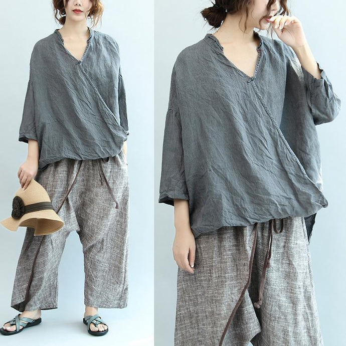 gray vintage linen blouse oversize casual Chinese Button tops o neck t shirt