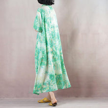 Load image into Gallery viewer, green linen caftans oversized Stand gown 2018 short sleeve print kaftans