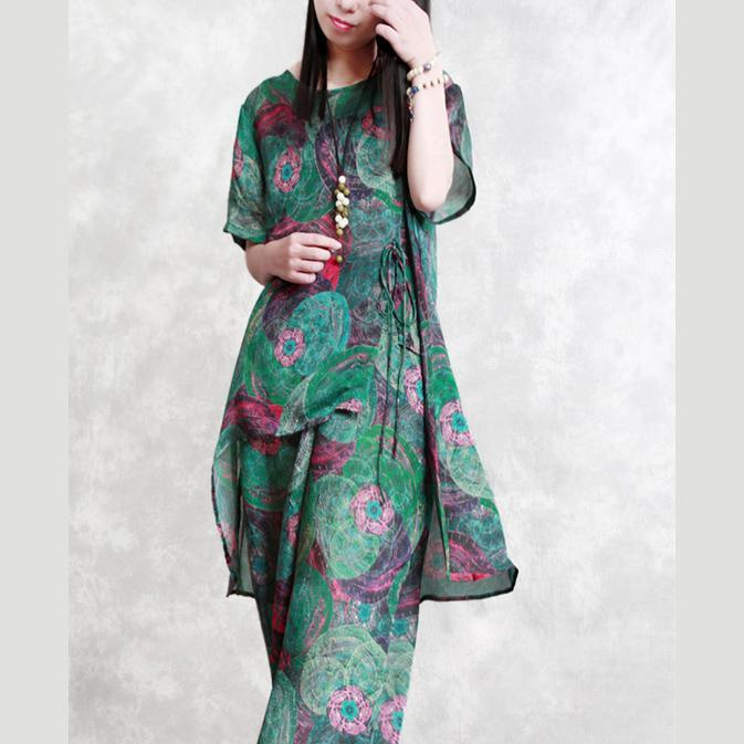 green casual silk blended two pieces fashion asymmetric tops and loose wide leg pants