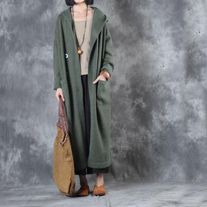 green fashion double breast woolen knit outwear oversize hooded long sweater trench coats