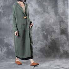 Load image into Gallery viewer, green fashion double breast woolen knit outwear oversize hooded long sweater trench coats
