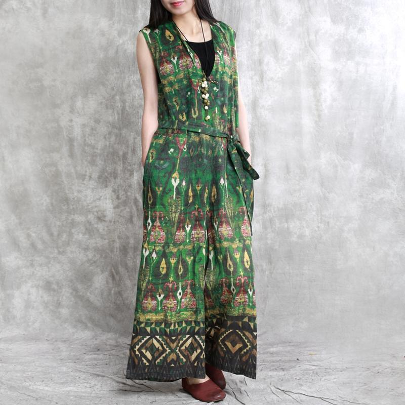 green floral casual linen traveling clothes fashion women v neck sleeveless jumpsuit pants