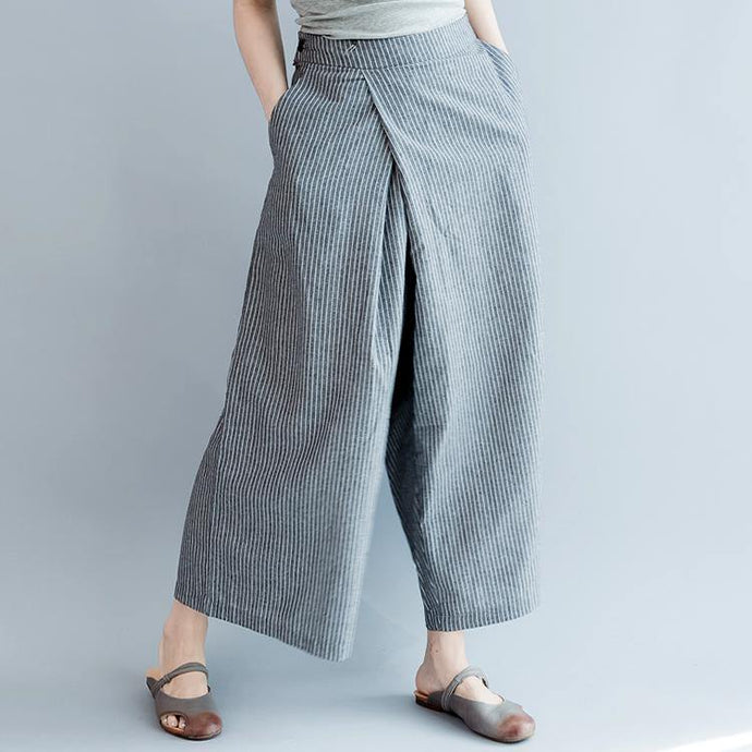 green prints linen low high tops with casual elastic waist wild wide leg pants