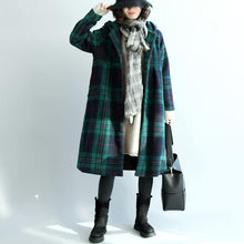 Load image into Gallery viewer, green wool coat plus size hooded maxi coat vintage plaid Jackets & Coats