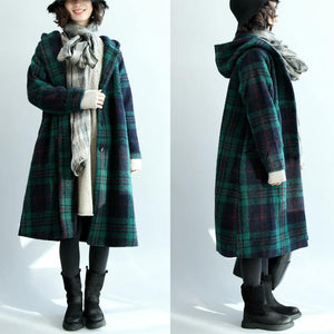 green wool coat plus size hooded maxi coat vintage plaid Jackets & Coats