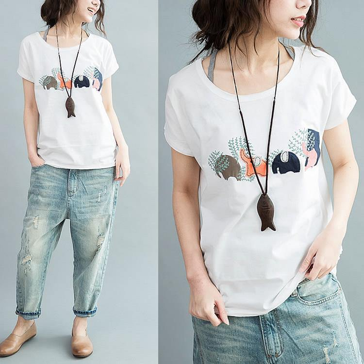 joyful elephant family summer cotton t shirts plus size woman tops shirts in white