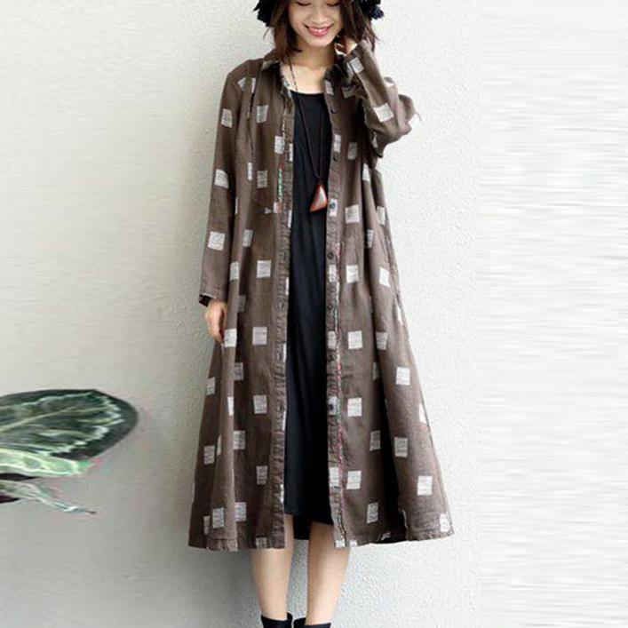 khaki linen Coat plus size lapel collar long coat 2018 Appliques coat