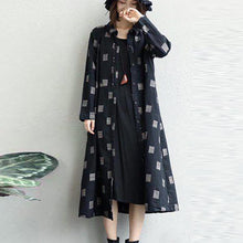 Load image into Gallery viewer, khaki linen Coat plus size lapel collar long coat 2018 Appliques coat