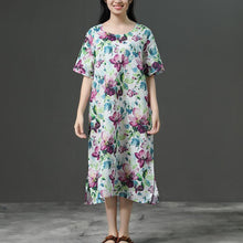 Load image into Gallery viewer, Short Sleeve Casual Loose Flower Linen Dress