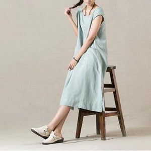 light blue cotton sundress linen summer maxi dress