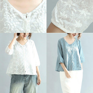 light blue cute embroidery blouse oversize stylish cardigans casual o neck tops