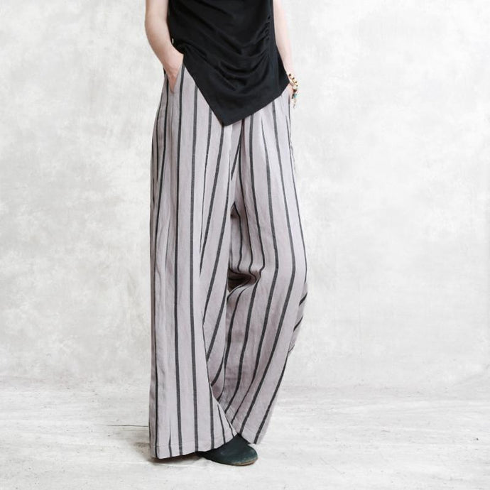 light gray women casual linen pants elastic waist striped straight trousers