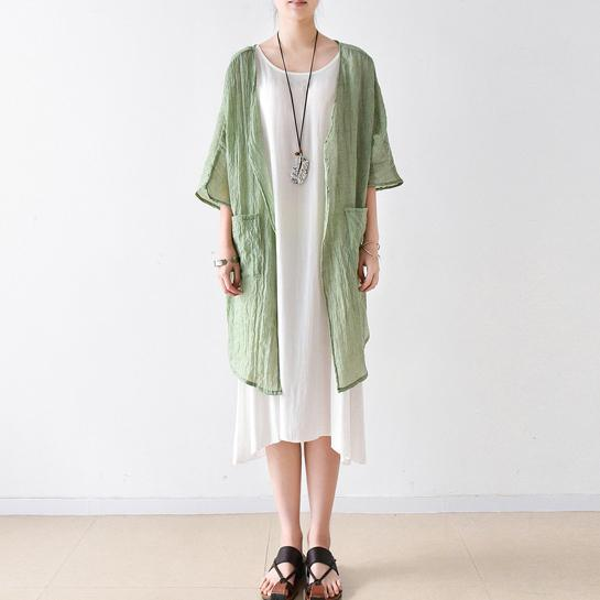 light green linen coat plus size casual blouse bracelet sleeved cardigans